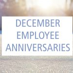 December Employee Anniversaries graphic with snow