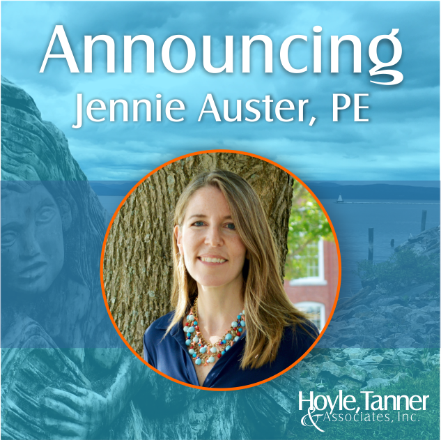 Announcing Jennifer Auster to Hoyle Tanner headshot image with blue background