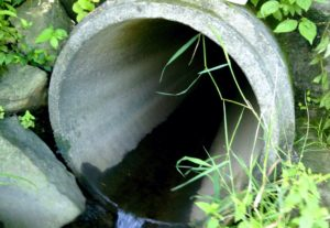 Stormwater outfall concrete pipe with water draining out of it