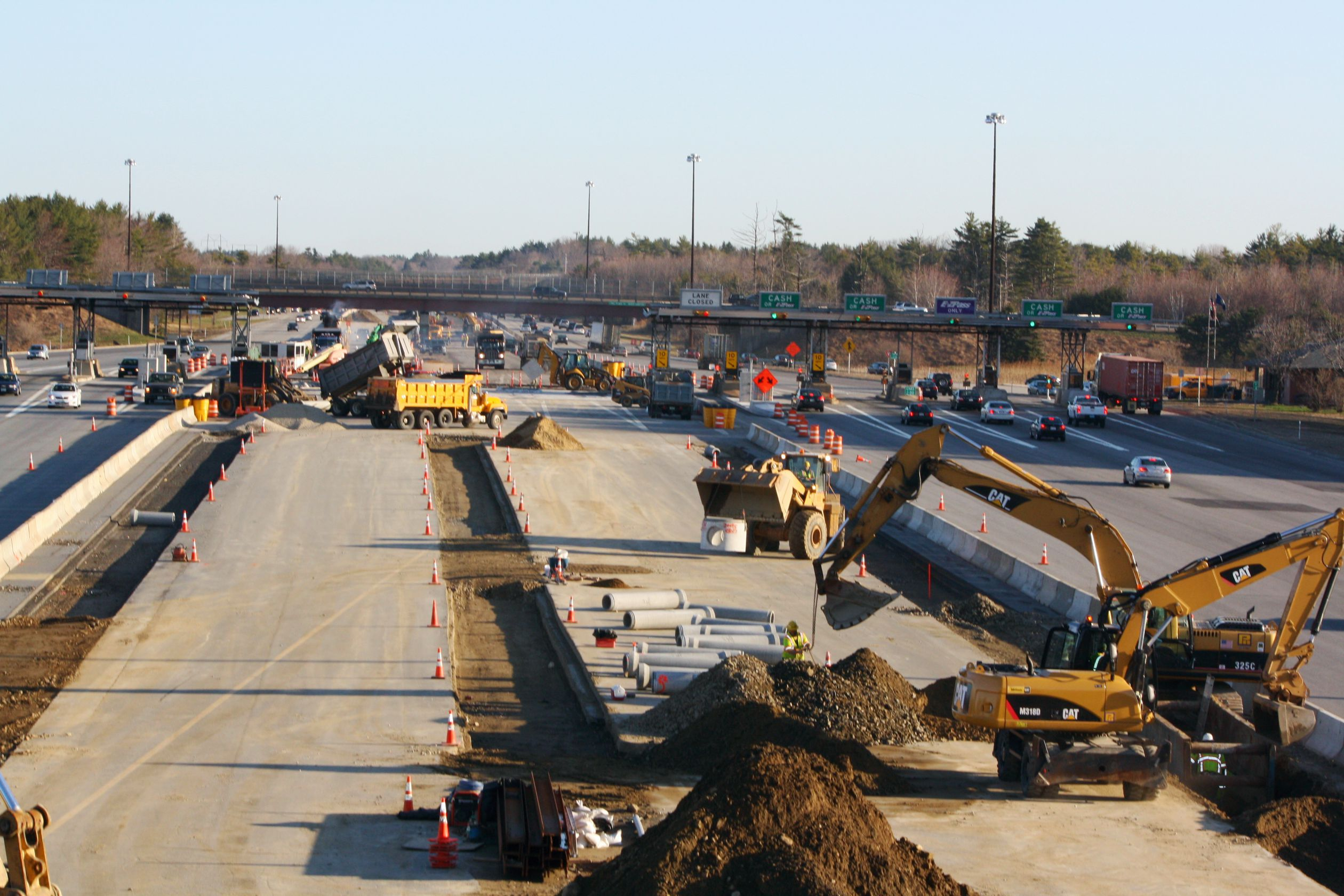 Construction photo of electronic toll booths being built