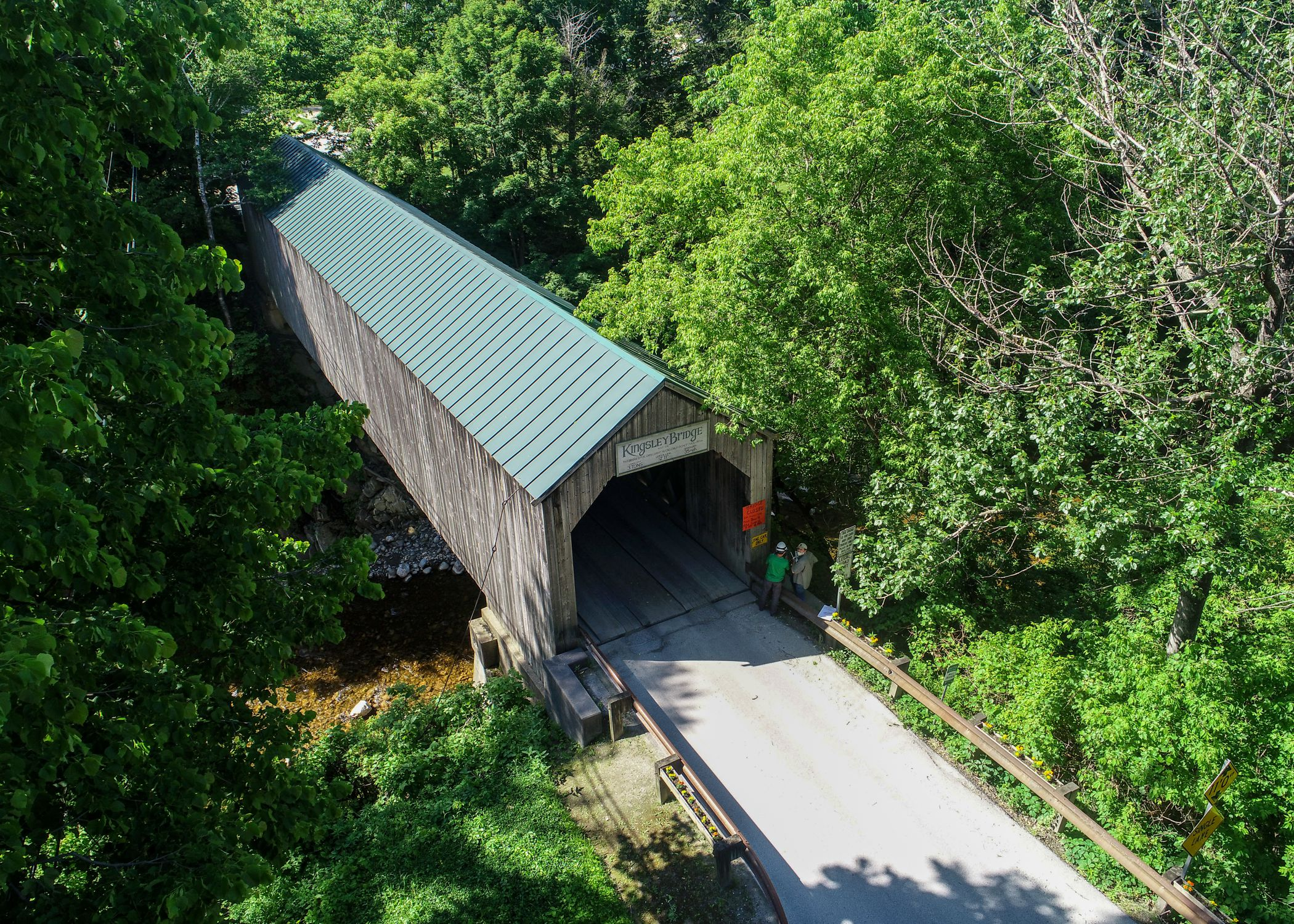 Drone image of Kingsley Covered Bridge