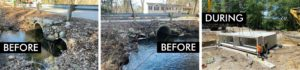 Before and During photos for bridge culvert replacement