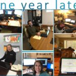 a collage of employee photos working from home