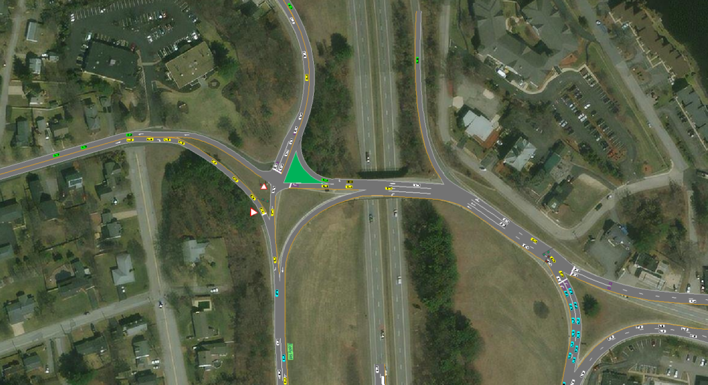 Traffic model snip showing intersection and cars