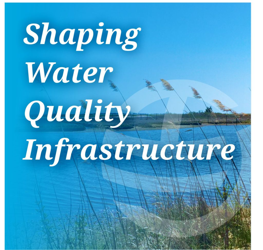 Shaping Water Quality Infrastructure graphic with water in background and Hoyle Tanner icon logo near text